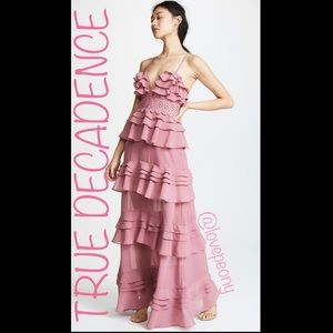 NEW True Decadence Plunge Front Tiered Ruffle Maxi